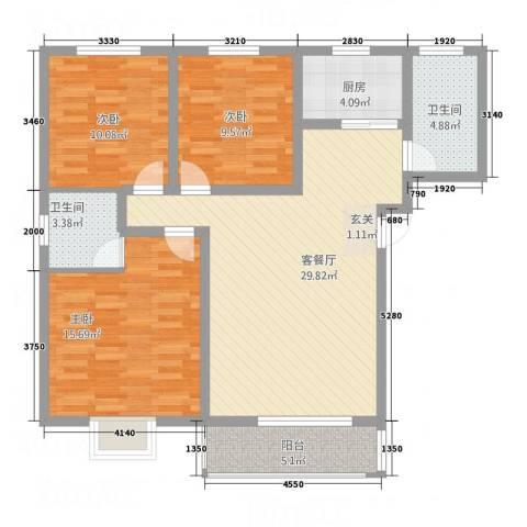 怡和国际3室1厅2卫1厨119.00㎡户型图