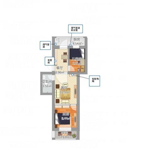 迎春小区2室2厅1卫1厨74.00㎡户型图
