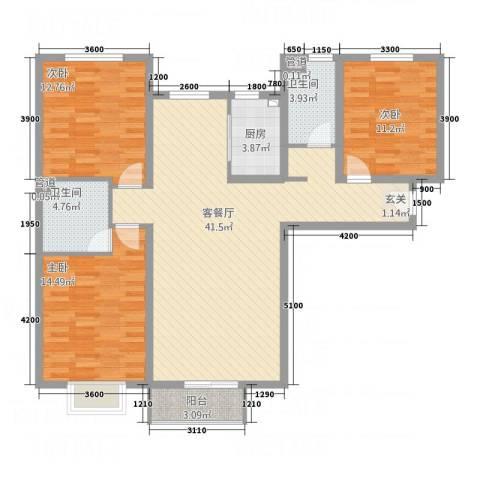 万顺花园3室1厅2卫1厨136.00㎡户型图