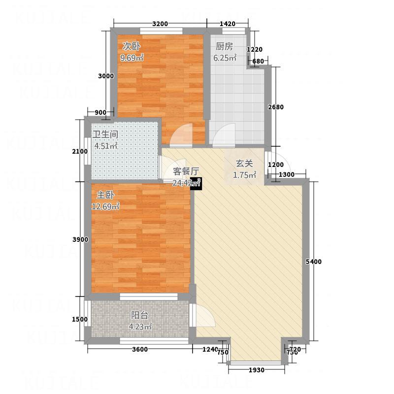中房花园78.60㎡A户型2室2厅1卫1厨