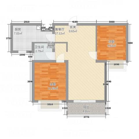 翡翠嘉园2室1厅1卫1厨89.00㎡户型图