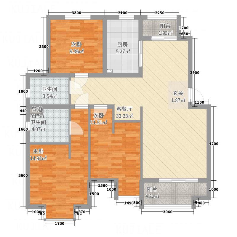 中房花园15.73㎡C户型3室2厅2卫1厨
