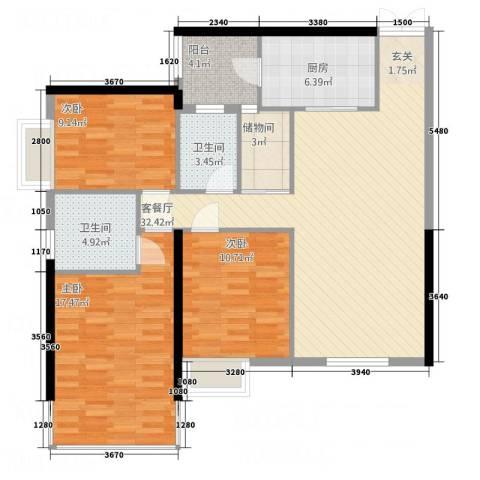 中怡城市花园3室1厅2卫1厨127.00㎡户型图