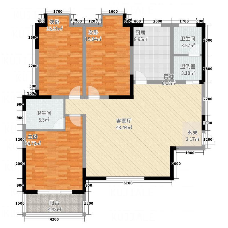 福地大厦15.00㎡A户型3室2厅2卫1厨