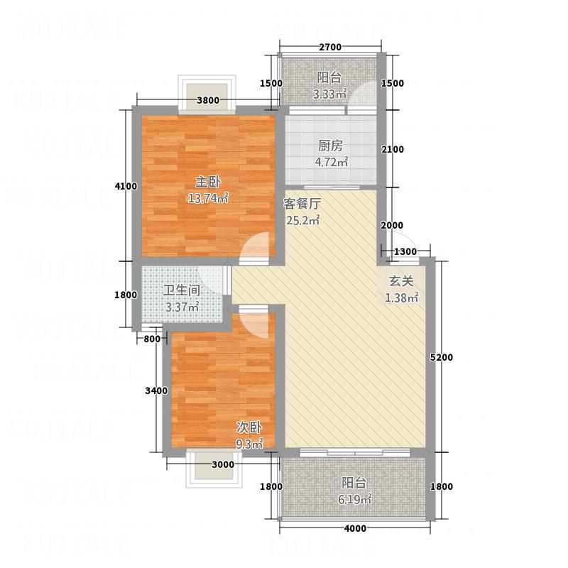 山川・�庭81.70㎡3#C户型2室2厅1卫1厨