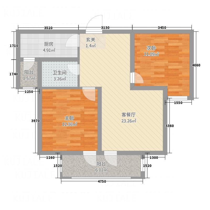 世茂锦江城B户型2室2厅1卫1厨