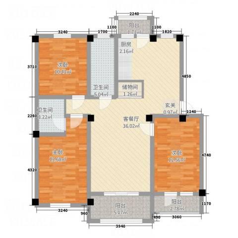 华城新视界3室1厅2卫0厨134.00㎡户型图