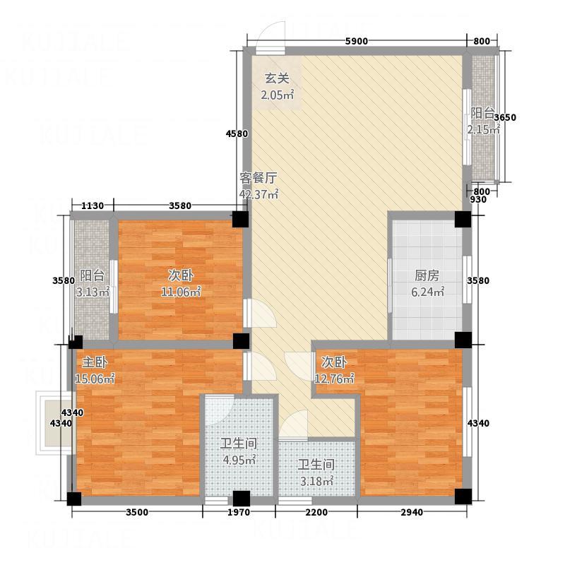 日月轩153.50㎡1号楼户型3室2厅2卫1厨