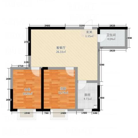 明兴商业广场2室1厅1卫1厨72.00㎡户型图