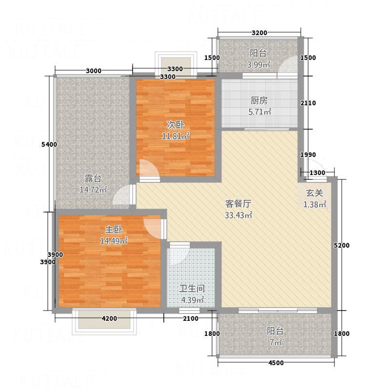 山川・�庭7.40㎡1/2/3#A'户型2室2厅1卫1厨