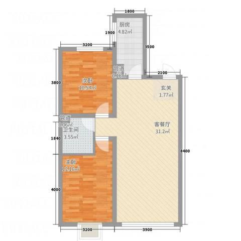 锦绣蓝湾2室1厅1卫1厨89.00㎡户型图