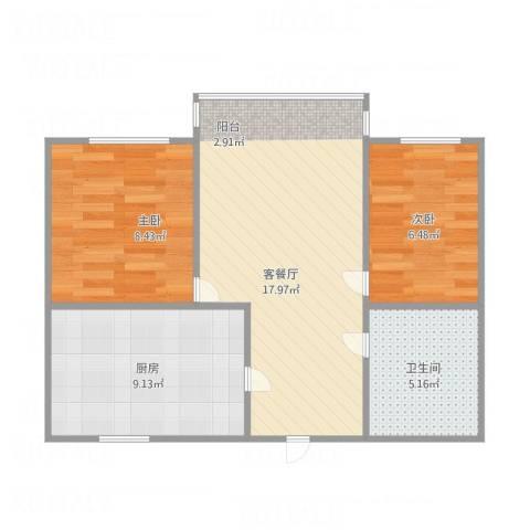 艮园2室1厅1卫1厨64.00㎡户型图