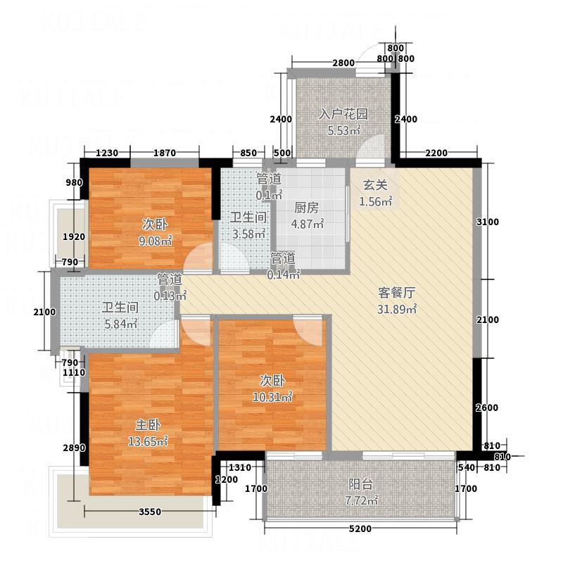 万佳时代国际广场113.80㎡A02户型3室2厅2卫