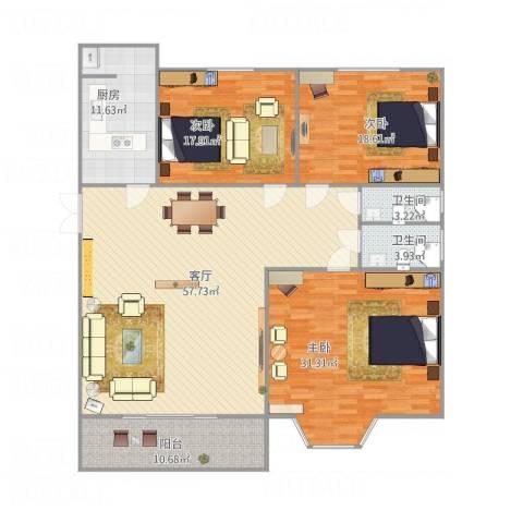 东方瑞士3室1厅2卫1厨204.00㎡户型图