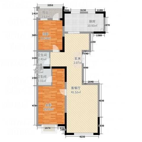明兴商业广场2室1厅2卫1厨92.21㎡户型图