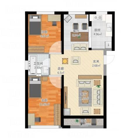 中冶蓝城2室1厅1卫1厨83.00㎡户型图