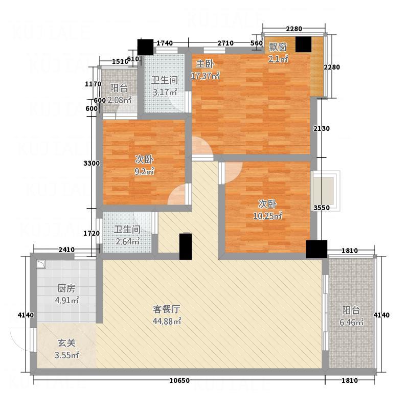 阳光雅阁132.37㎡3-24楼02户型3室2厅2卫1厨