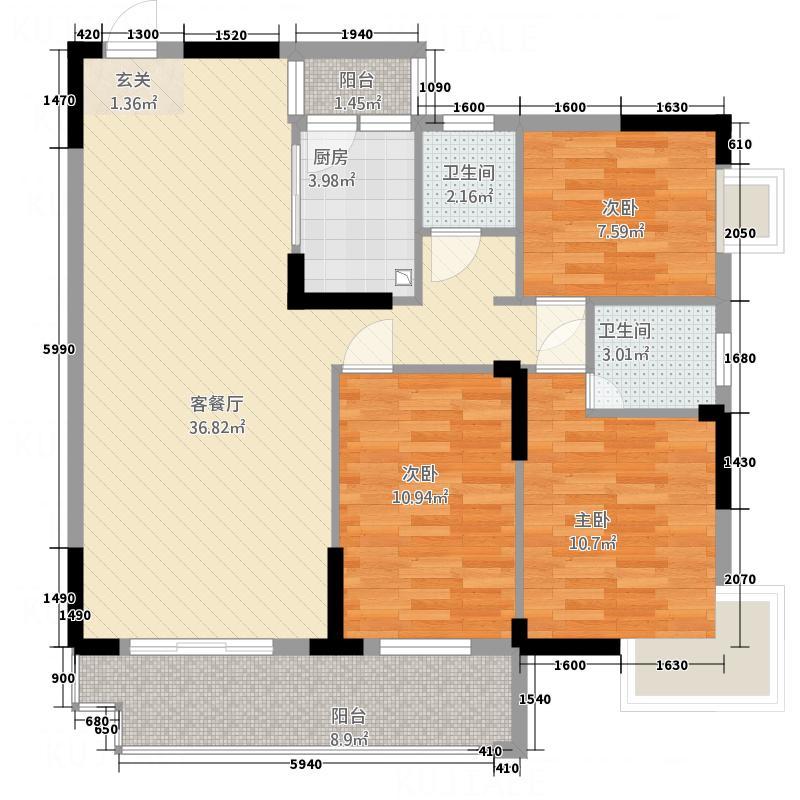 时通商城135.74㎡B2户型3室2厅2卫1厨