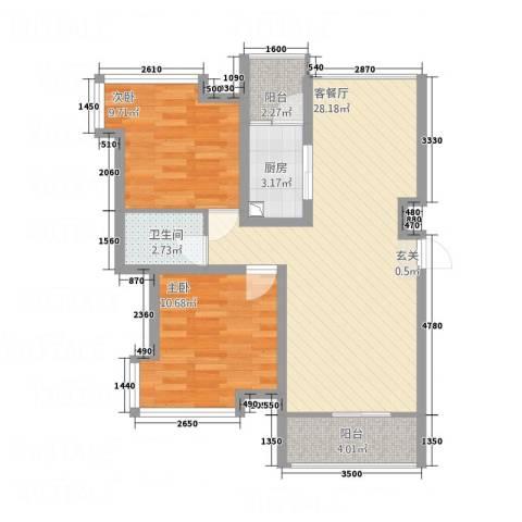 正大百脉豪庭2室1厅1卫1厨88.00㎡户型图
