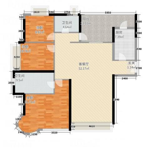 翠香社区3室1厅2卫1厨128.04㎡户型图