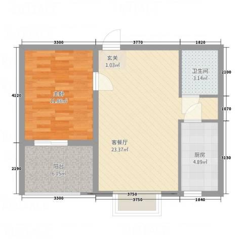 正大百脉豪庭1室1厅1卫1厨70.00㎡户型图
