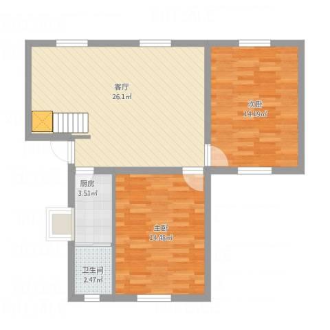 大桥局宿舍2室1厅1卫1厨85.00㎡户型图