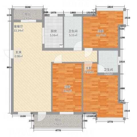 正大百脉豪庭3室1厅2卫1厨135.00㎡户型图