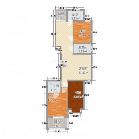 世茂锦江城3室1厅2卫1厨117.00㎡户型图