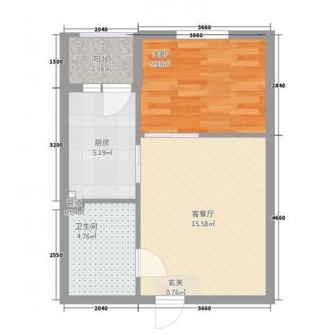 首创・铂悦1室1厅1卫1厨42.75㎡户型图