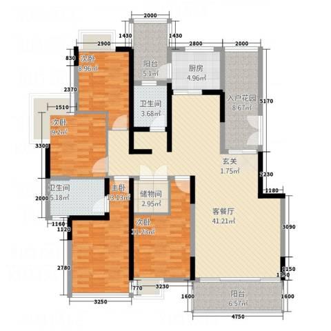 金沙俊园4室1厅2卫1厨120.82㎡户型图
