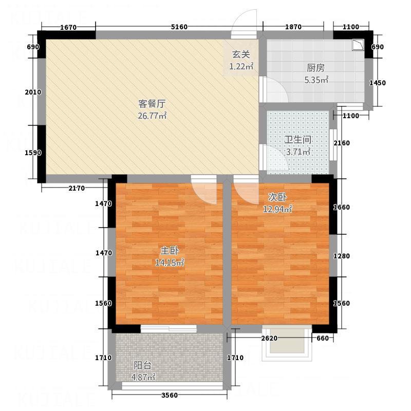 新柳湾户型2室2厅1卫1厨