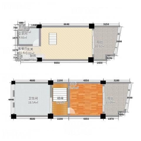 三亚湾海韵度假酒店1室1厅2卫0厨136.00㎡户型图