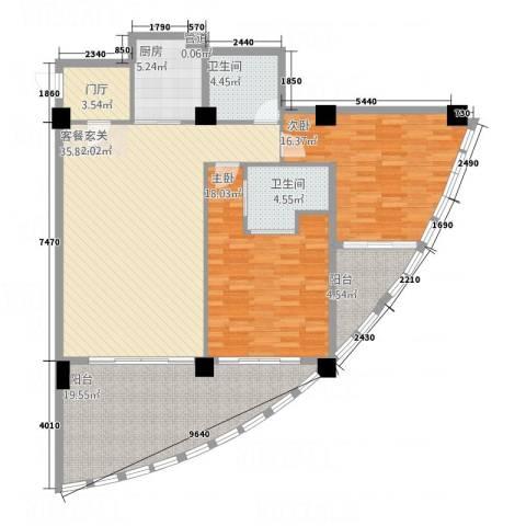 三亚湾海韵度假酒店2室1厅2卫1厨158.00㎡户型图