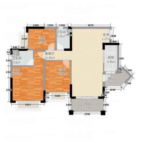 太平街商住楼3室1厅2卫1厨122.00㎡户型图