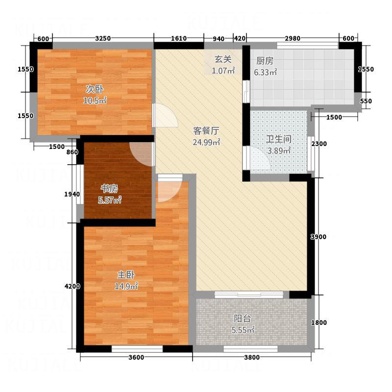 碧海兰庭117.34㎡13栋A3户型3室2厅2卫