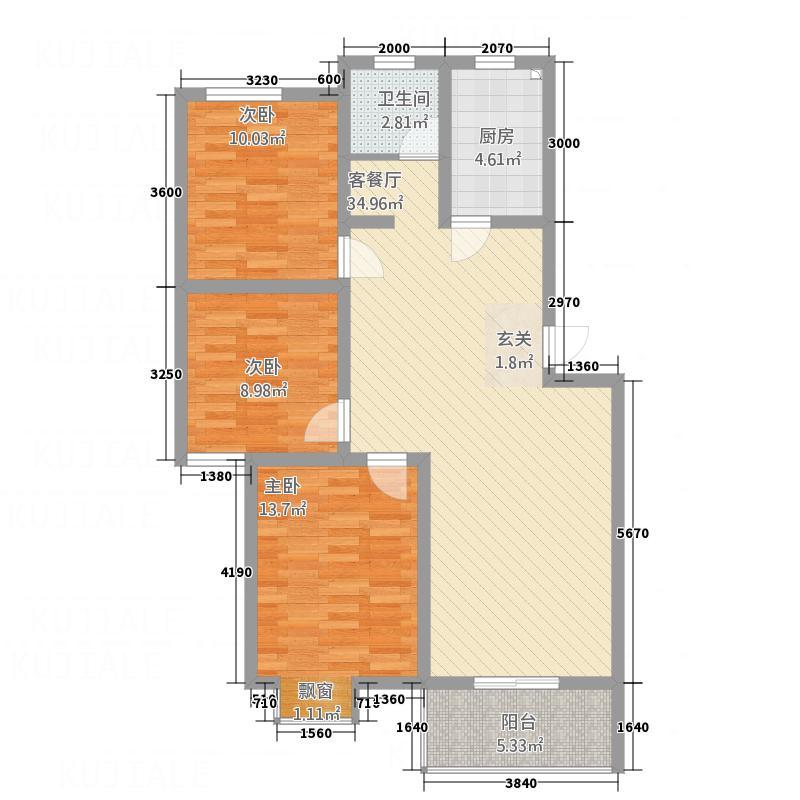 新柳湾10326户型3室2厅1卫1厨