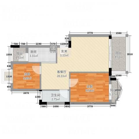 金沙俊园2室1厅1卫1厨72.00㎡户型图
