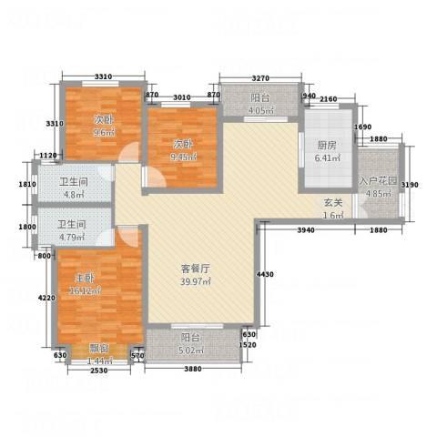 暨阳玫瑰城三期3室1厅2卫1厨132.00㎡户型图