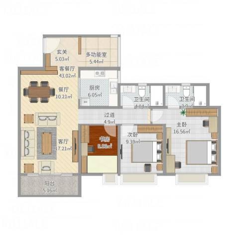 吴川第一城121平方米3室1厅2卫1厨134.00㎡户型图