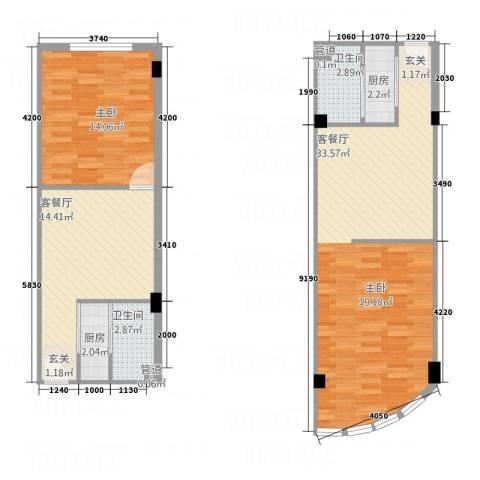 友谊大厦1室2厅2卫2厨72.44㎡户型图