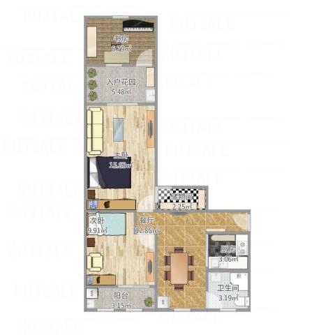 武宁一村3室1厅1卫1厨85.00㎡户型图