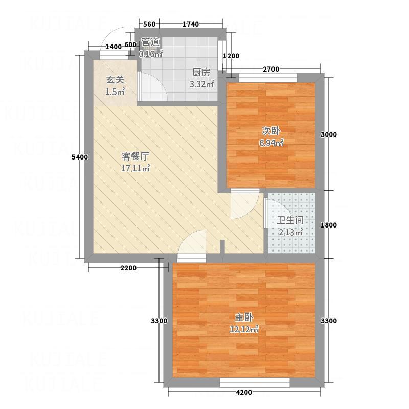 西花园212.20㎡户型2室1厅1卫1厨