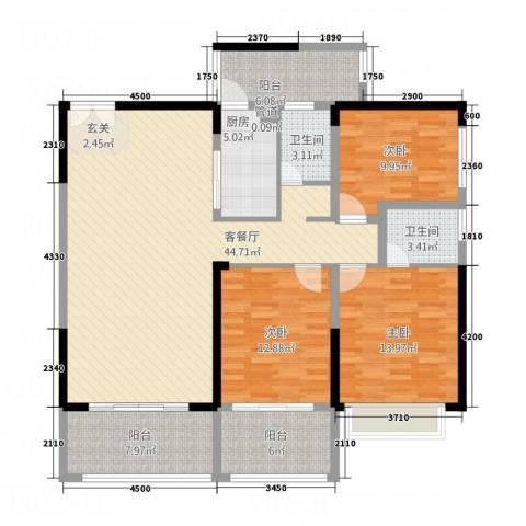 万和乐华花园3室1厅2卫1厨133.00㎡户型图