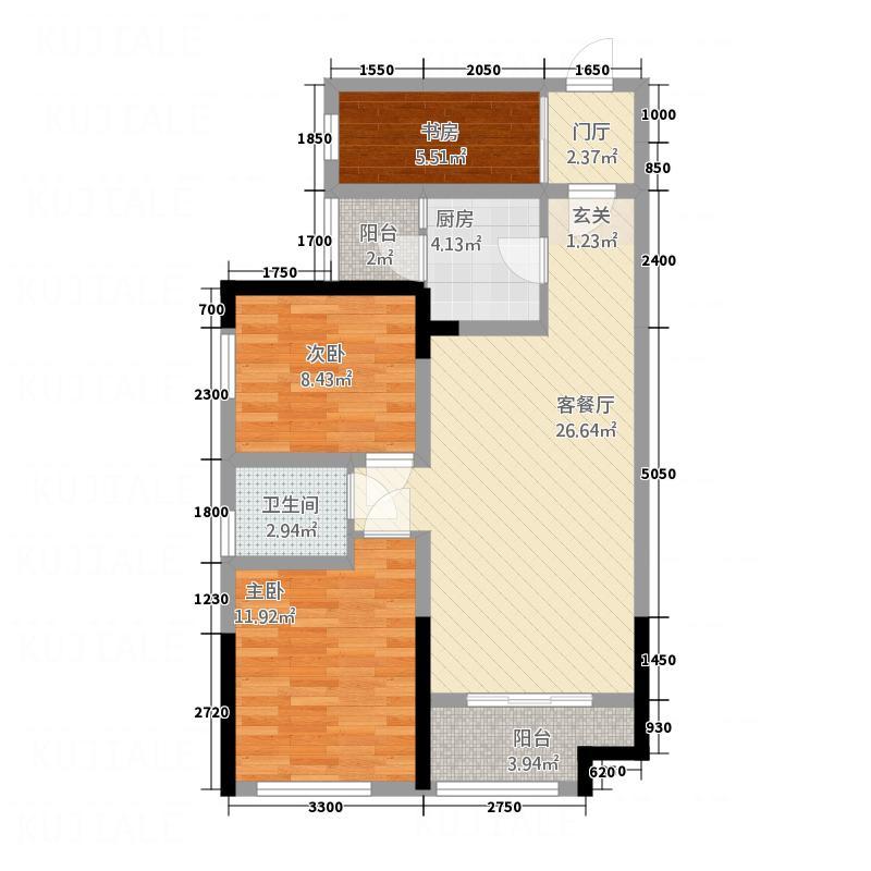 凯丽新城76.27㎡A3户型3室2厅1卫1厨