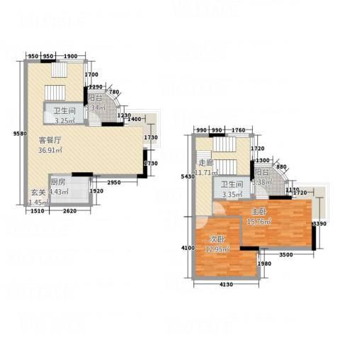 润宇旺江楼2室1厅2卫1厨135.00㎡户型图