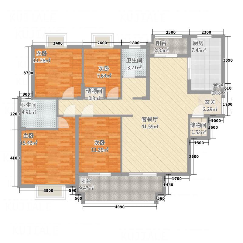 恩达国际142.50㎡C户型4室2厅2卫1厨