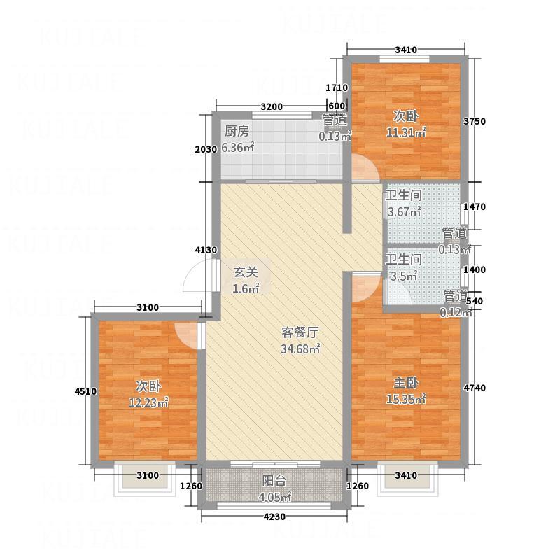 世贸广场13.00㎡3#-C户型3室2厅2卫1厨