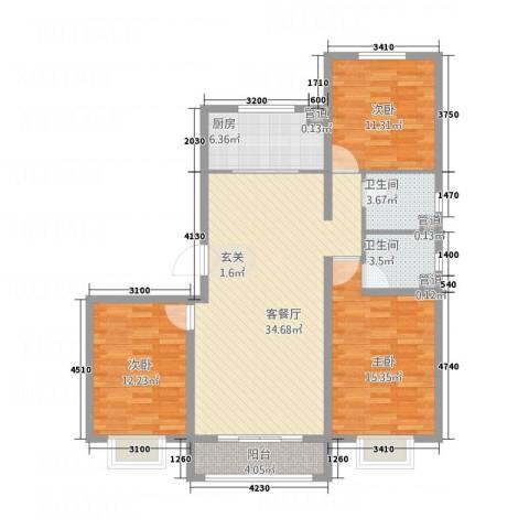 世贸广场3室1厅2卫1厨91.54㎡户型图