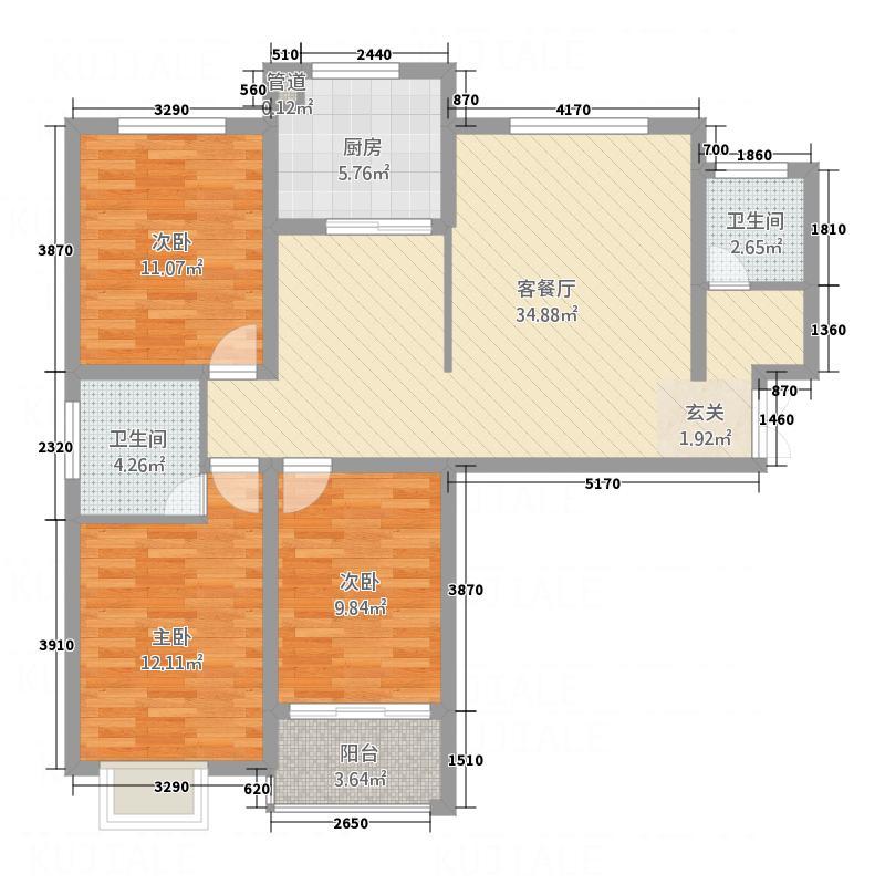 淇水佳园121.24㎡D-1户型3室2厅2卫1厨