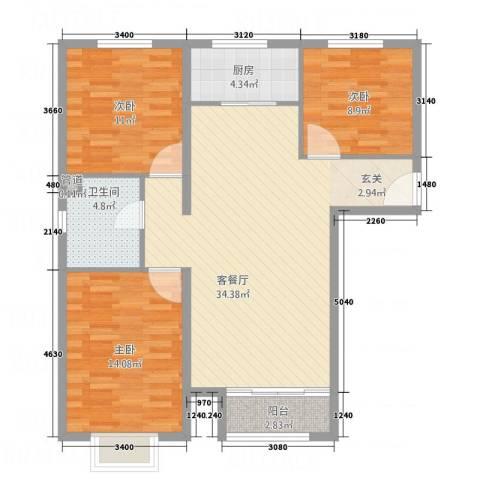 世贸广场3室1厅1卫1厨116.00㎡户型图